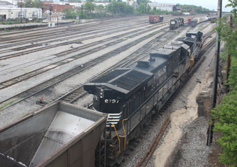 NS GE C40-9W #9719 and NS GE C40-9 #8797, Roanoke Classification Yard